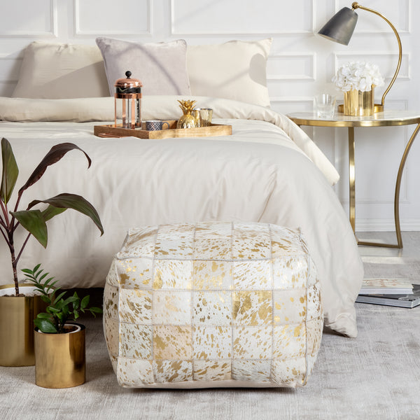 Carrie Genuine Hairon Gold Foil Pouf - Square