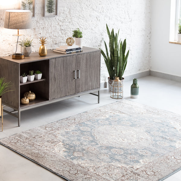 Estelle Blue Microfiber Area Rug