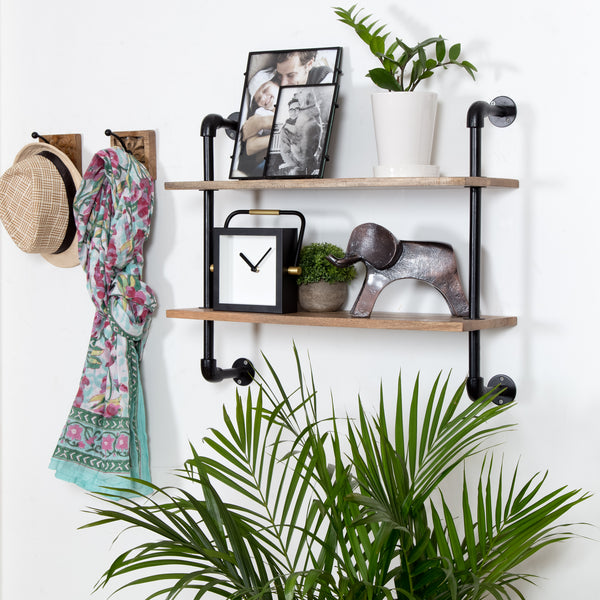 Terville Pipe Wall Shelf - 2 Tier