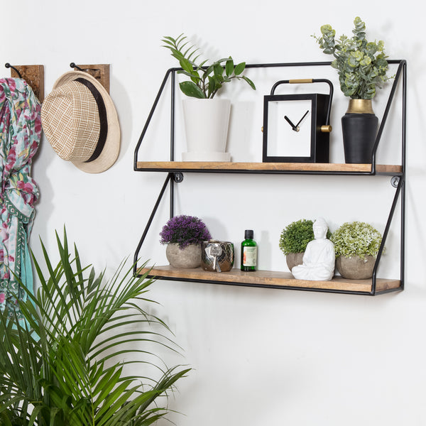 Lugo 2 Tier Wall Shelf - Black
