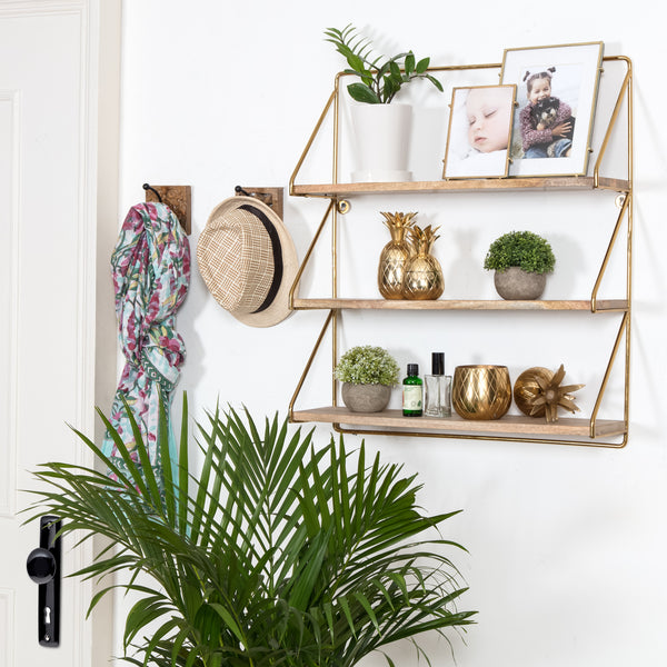 Leon 3 Tier Wall Shelf - Gold