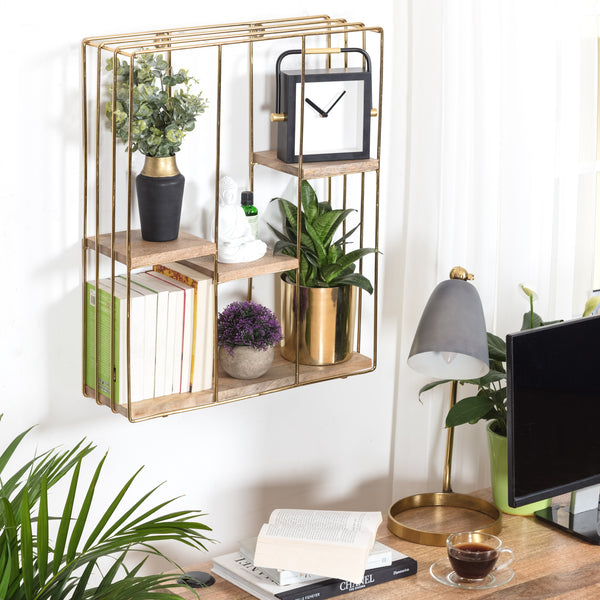 Cadiz Square Wall Shelf - Gold