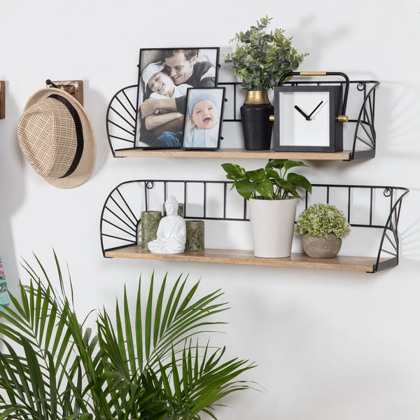 Santi Fan Wall Shelf Set Of 2 - Black