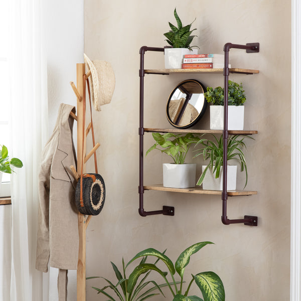 Weston Solid Wood Three Tier Shelf - Brown