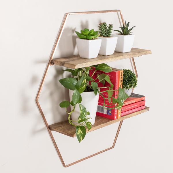 Cassie Wall Shelf Rose Gold