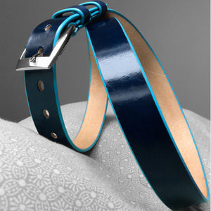 Stark Leathergoods Stark Leathergoods belt, hand-painted, midnight blue, turquoise, unisex