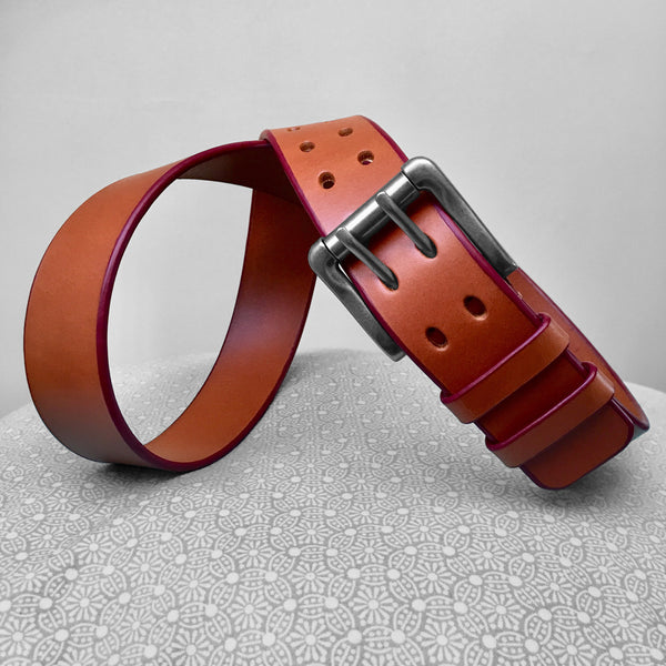 Stark Leathergoods Stark Leathergoods belt, bridle, men, ox blood, tan, vegetable tanned leather