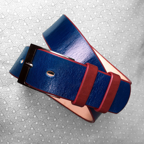 Stark Leathergoods Stark Leathergoods belt, hand-dyed, midnight blue, ox blood, unisex, vegetable tanned leather