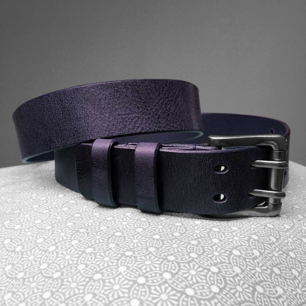 Stark Leathergoods Stark Leathergoods belt, men, navy blue, vegetable tanned leather