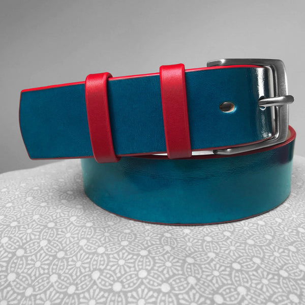 Stark Leathergoods Stark Leathergoods belt, hand-painted, midnight blue, red, unisex, vegetable tanned leather