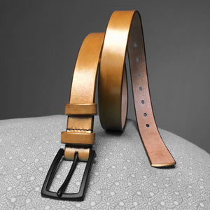 Stark Leathergoods Stark Leathergoods belt, gold, hand-dyed, unisex, vegetable tanned leather