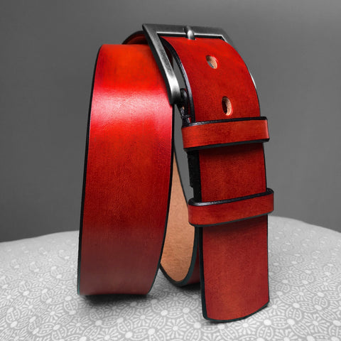Stark Leathergoods Stark Leathergoods belt, black, brick red, hand-dyed, vegetable tanned leather