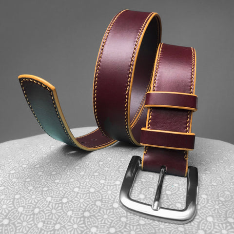 Stark Leathergoods Stark Leathergoods belt, burgundy, hand-stitched, saddle stitching, unisex, vegetable tanned leather, yellow