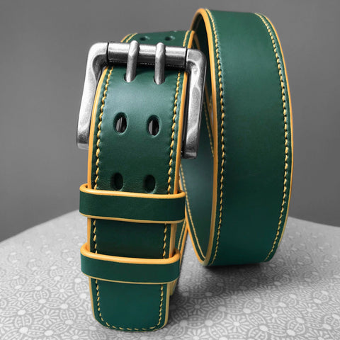 Stark Leathergoods Stark Leathergoods belt, dark green, hand-stitched, unisex, vegetable tanned leather, yellow