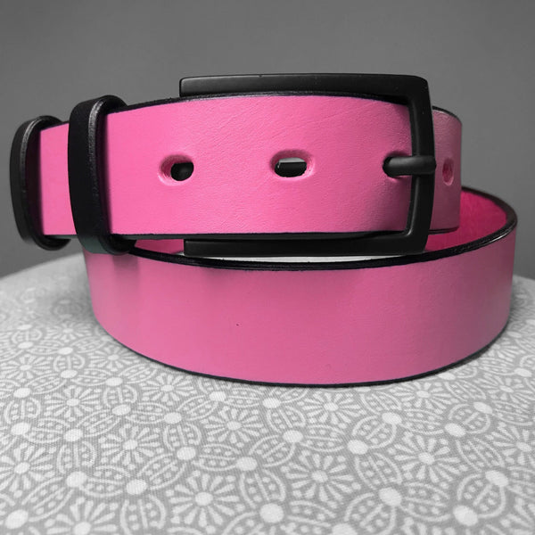 Stark Leathergoods Stark Leathergoods belt, black, pink, unisex, vegetable tanned leather