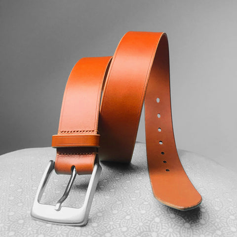 Stark Leathergoods Stark Leathergoods belt, bespoke, hand-stitched, mid tan, unisex, vegetable tanned leather