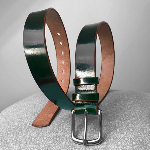 Stark Leathergoods Stark Leathergoods belt, emerald green, hand-dyed, tan, unisex, vegetable tanned leather