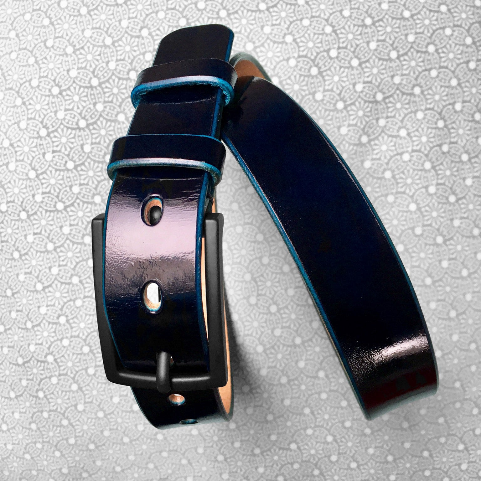 Stark Leathergoods Stark Leathergoods belt, hand-dyed, midnight black, midnight blue, vegetable tanned leather