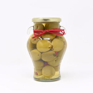 Gordal Olives stuffed with Garlic and Red Chili