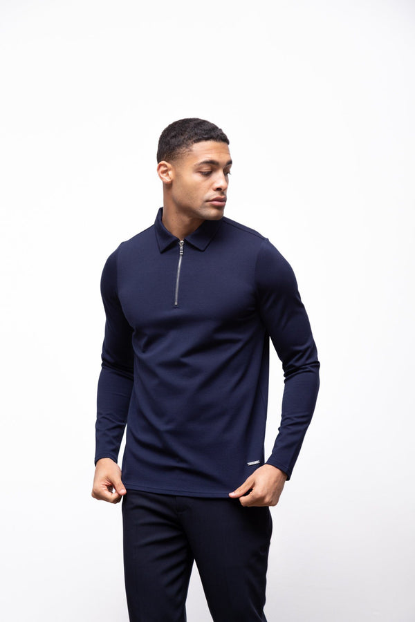 Premium Long Sleeve Polo Navy 2.0
