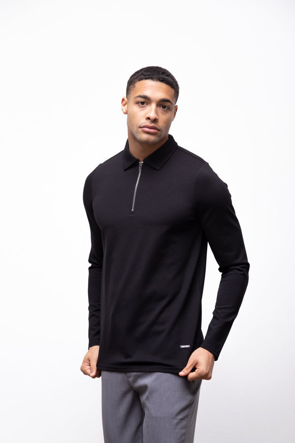 Premium Long Sleeve Polo Black 2.0