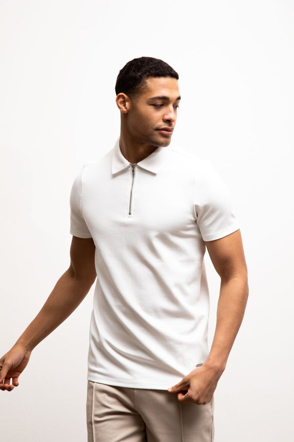 Premium Zip POLO WHITE