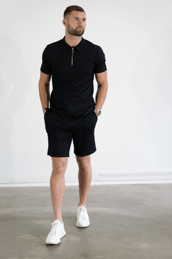 Premium Zip POLO BLACK