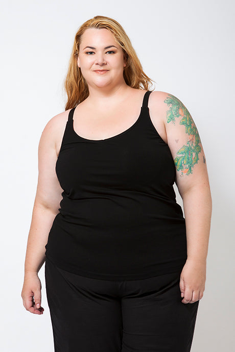 Plus Size Model wearing a Black Cotton Singlet with a built-in bra