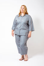 Load image into Gallery viewer, Grey Pyjamas with Pink Spots on a Plus Size Model