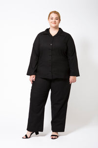 Black Linen-Look Cotton outfit on a Plus Size Model.  Pants and sleeves are long length.