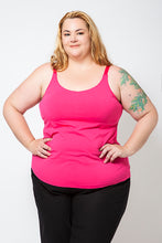 Load image into Gallery viewer, Plus Size Model wearing a Pink Cotton Singlet with a built-in bra