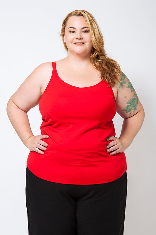Plus Size Model wearing a Red Cotton Singlet with a built-in bra