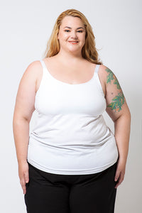 Plus Size Model wearing a White Cotton Singlet with a built-in bra