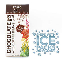Load image into Gallery viewer, KakaoZon 63% Dark Chocolate with Coffee Beans • 2.82oz Bar