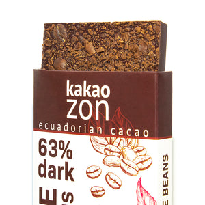 KakaoZon 63% Dark Chocolate with Coffee Beans • 2.82oz Bar