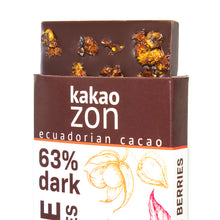 Load image into Gallery viewer, KakaoZon 63% Dark Chocolate with Goldenberries • 2.82oz Bar