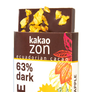 KakaoZon 63% Dark Chocolate with Pineapple • 2.82oz Bar