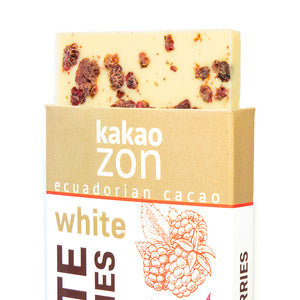 KakaoZon White Chocolate with Raspberries • 2.82oz Bar