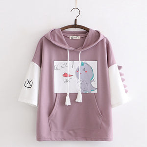 Sweat Kawaii Manches Courtes Dino