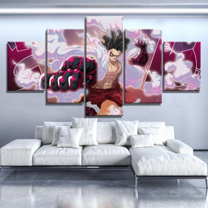 Tableau One Piece 5 pièces Luffy Gear 4th Snakeman-Saiyan Spark