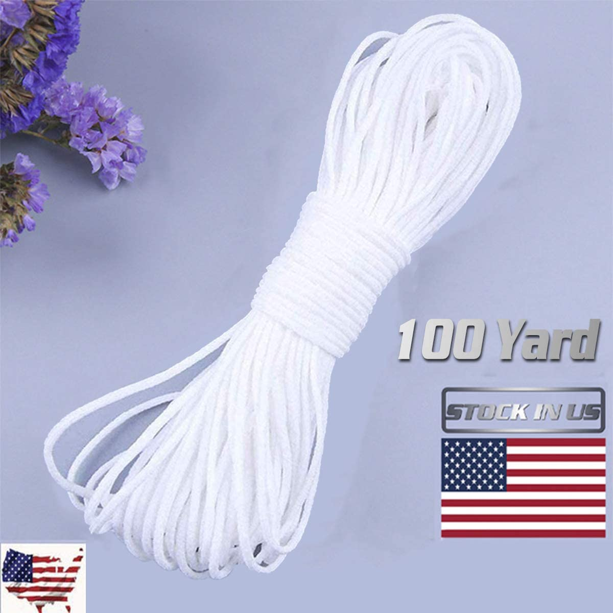 DIY 100 Yard Elastic Cord DIY Mask Elastic Band Non -Toxic High Elasticity