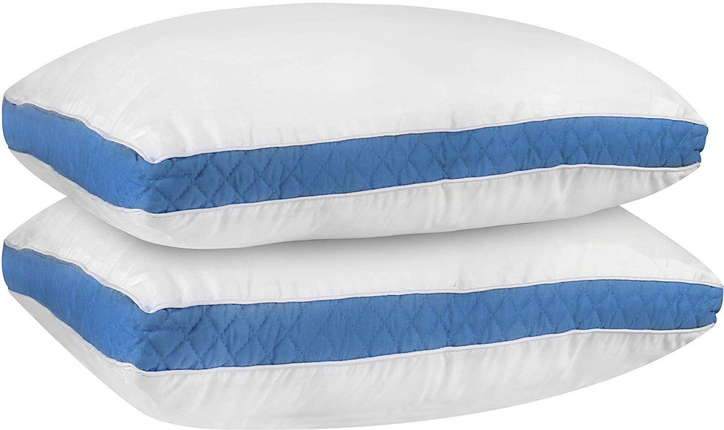 Bedding Gusseted Quilted Pillows (2 Pack) - Hypo Allergenic and Easy Care