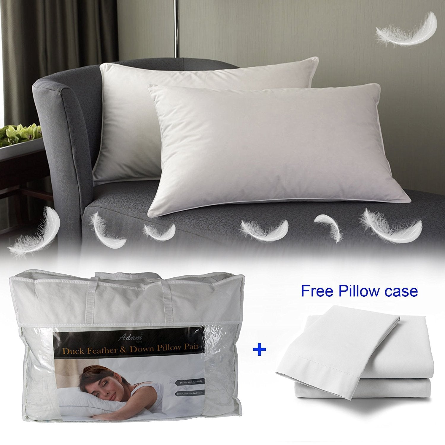 100% Cotton Cover with Extra Soft Filling - Hotel Quality Comfortable Bed Pillow