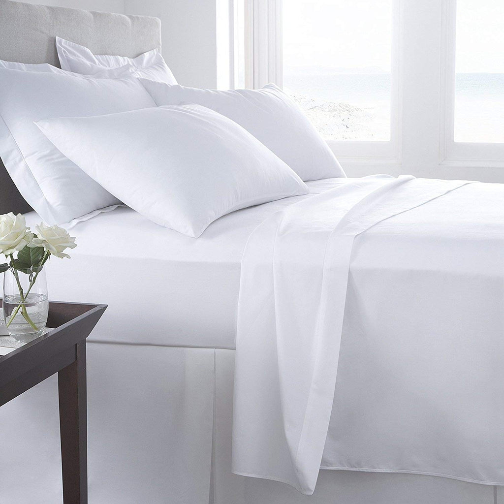 KING SIZE WHITE 100% EGYPTIAN COTTON FITTED SHEET IN 200 THREAD COUNT 200TC PLAIN