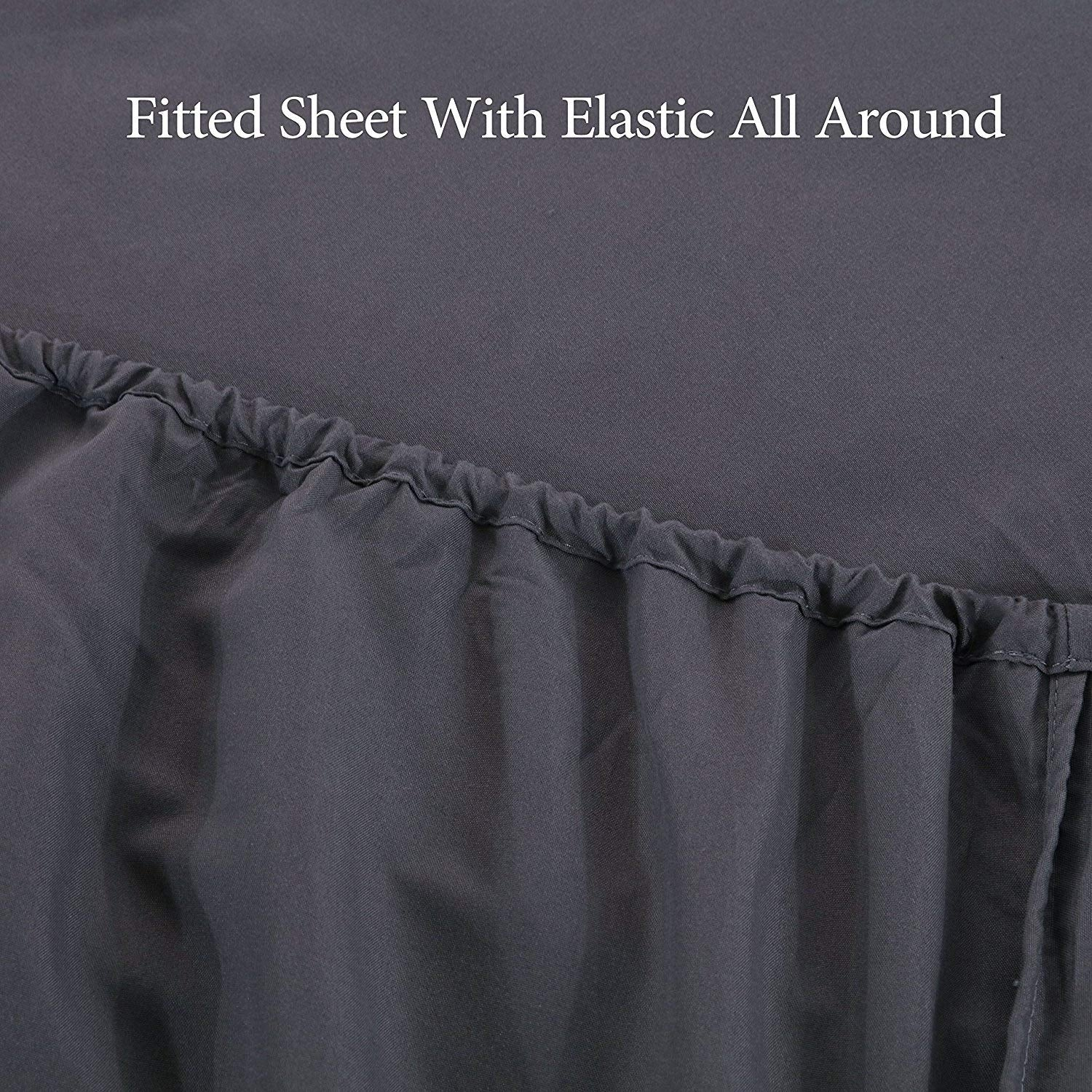 "16"" (40cm) Extra Deep King Size Fitted Sheet Brushed Microfiber Breathable Wrinkle Resistance (Grey)"