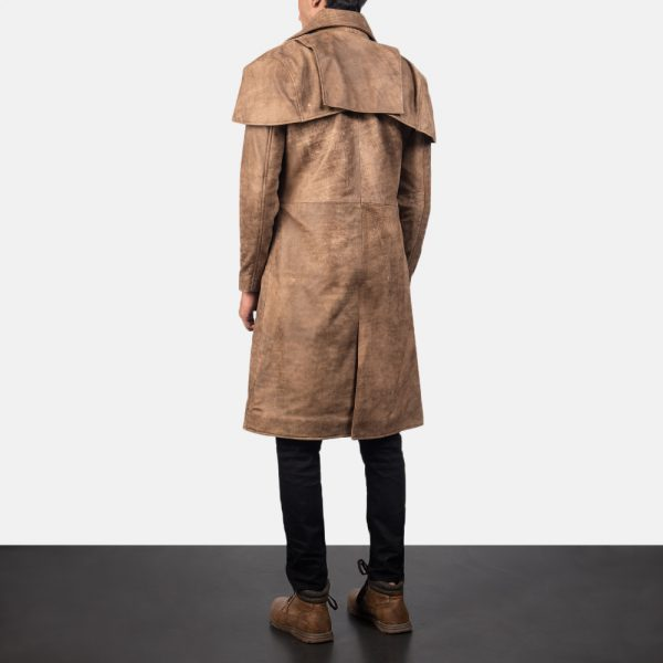 Classic Brown Leather Duster for Men