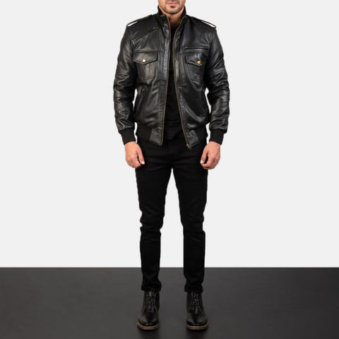 Agent Shadow Black Leather Bomber Jacket for Men