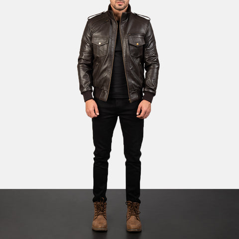 Agent Shadow Brown Leather Bomber Jacket