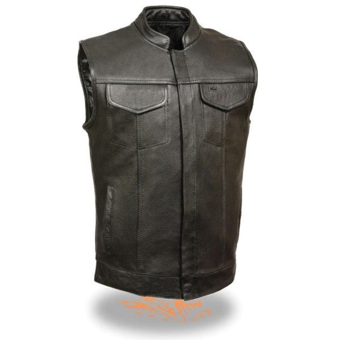 Black 'Club' Open Neck Leather Vest for Men
