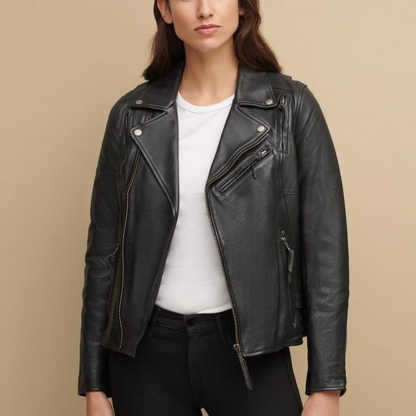 Black Jacket With Adjustable Side for Womens